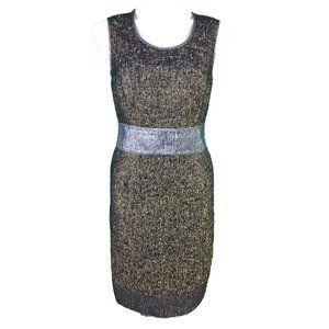 Ports 1961 Sheath Dress Black Gold Silver